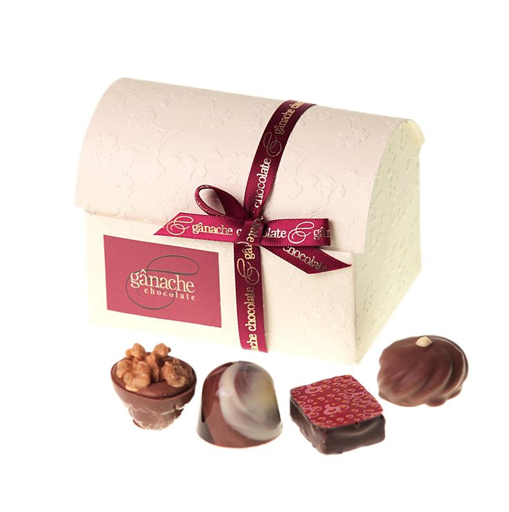 Delightful Treasure Chest with 12 of our finest handmade chocolates inside $25.00 http://www.ganache.com.au/chocolate-boxes/treasure-chest-12-pralines-en.html