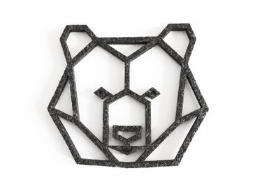 Geometric bear - felt coaster by Enna