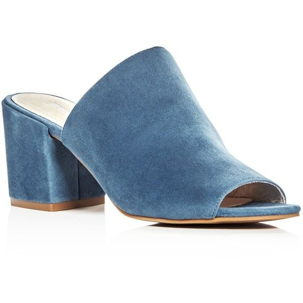 Kenneth Cole Vega Suede High Heel Slide Sandals ($130) ❤ liked on Polyvore featuring shoes, sandals, indigo, rubber sole sandals, high heeled footwear, indigo sandals, indigo shoes and kenneth cole sandals
