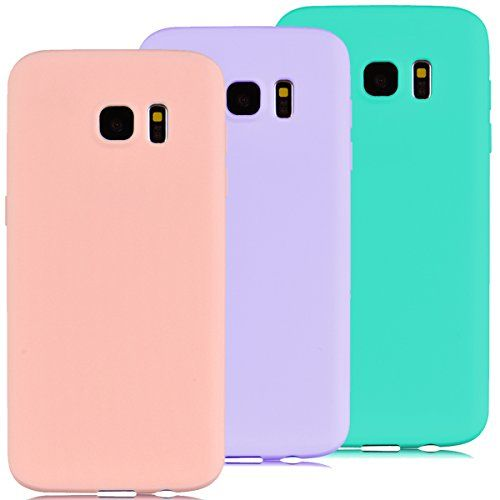 3x Funda Samsung Galaxy S7 Edge, Yokata Silicona TPU Pluma Ultra Delgado Ligero Elegante Suave Mate Carcasa Trasera Fantasía Caprichoso Kawaii Adorable Diseño Flexible Case Bumper Resistente a los Arañazos Anti Choque Anti-deslizante Soft Protectora Cover - Candy Azul, Rosa, Púrpura