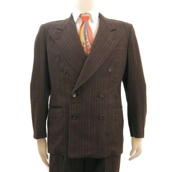 Vintage 40s Suit Men's Brown Pinstripe Wool Double ...