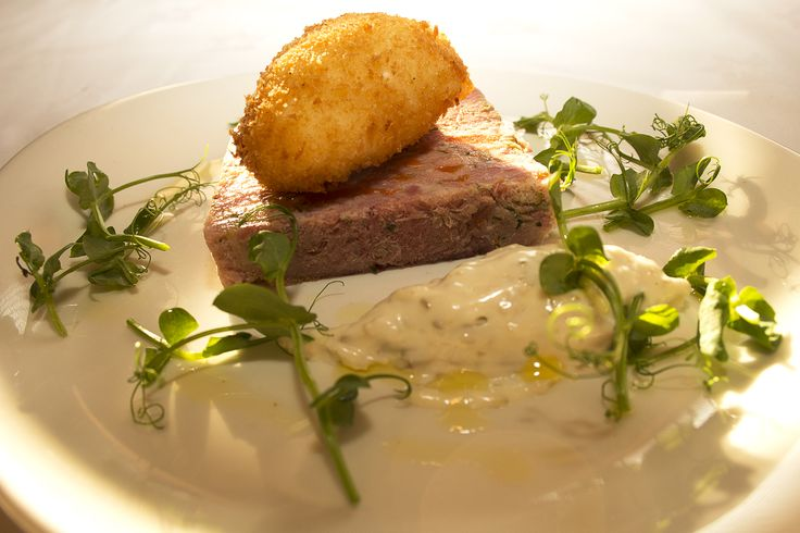 Ham Hock with breaded poached egg served with sauce gribiche