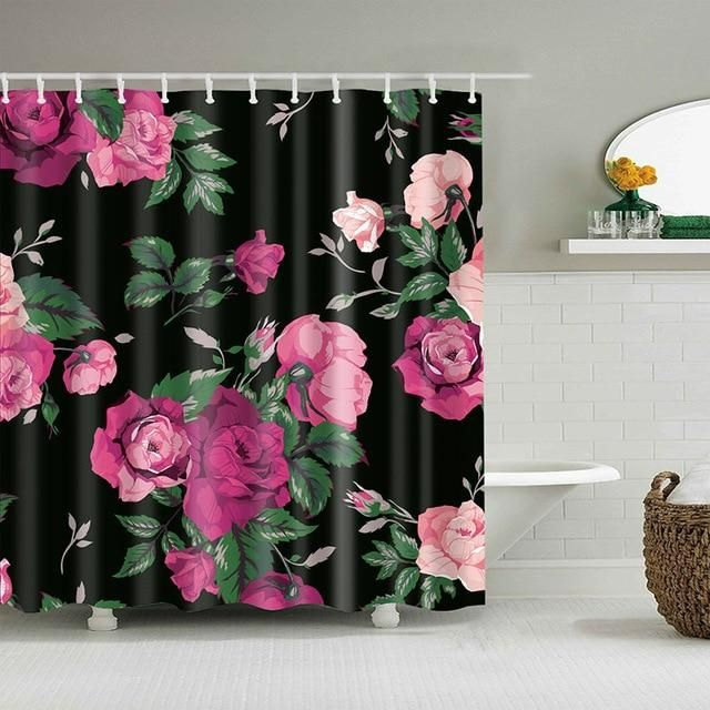 Rose Print Black Fabric Shower Curtain In 2020 Shower Curtain