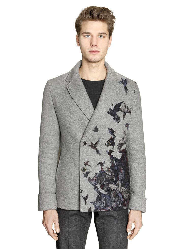 SALVATORE FERRAGAMO - BIRD PRINTED DOUBLE WOOL PEACOAT - LUISAVIAROMA - LUXURY SHOPPING WORLDWIDE SHIPPING - FLORENCE