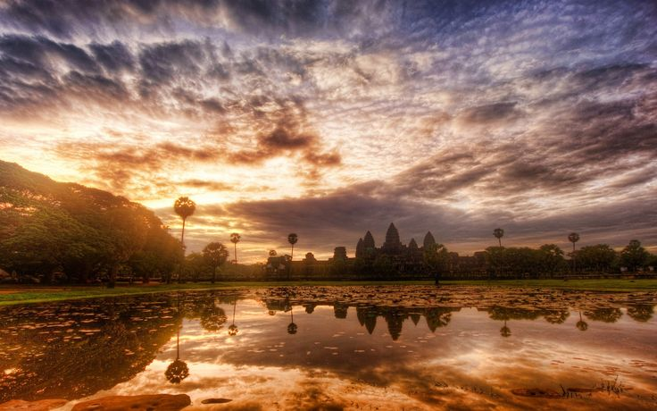 General 1920x1200 nature landscape sunrise sky clouds trees temple water reflection pond Angkor World Heritage Site Cambodia