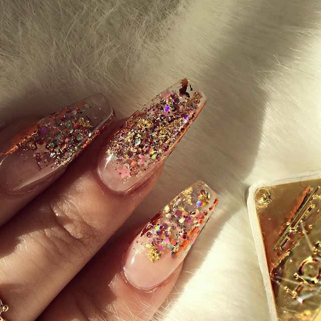 Clear glitter coffin acrylic nails. Bomb af!!