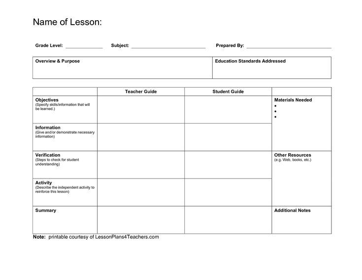 Best 25 Blank Lesson Plan Template ideas – Sample Art Lesson Plans Template