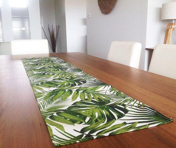 Captivating Palm Leaves Tropical Table Runner Coastal Classic. Vintage Hawaiian Style.  Botanicals Beach House Decor. Retro Tropical