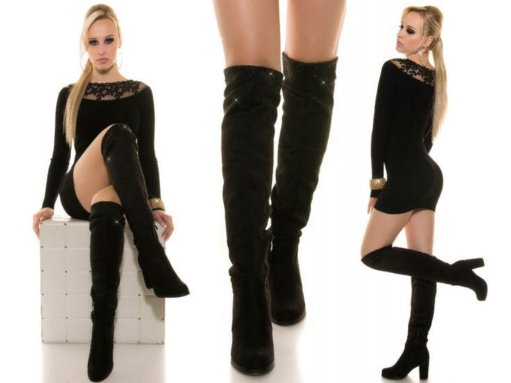 Černé kozačky nad kolena, 36 - 40 - Bestmoda  Over the knee high heel boots in stock