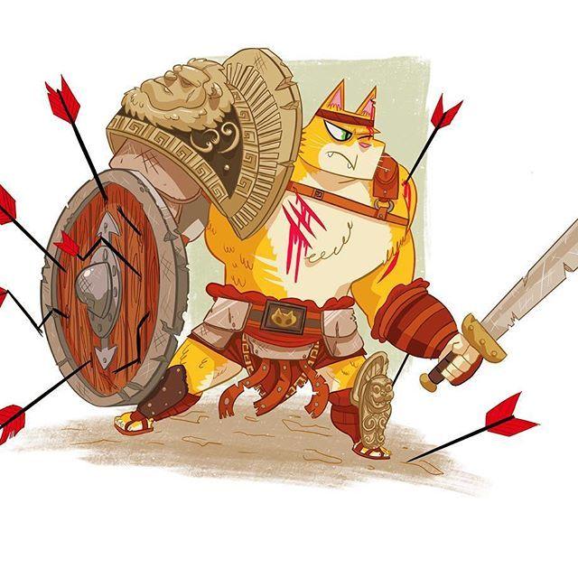 My gladiator character for the character design challenge! it was based on my cat xD #ipadpro #procreate #characterdesign #illustration #drawing #gladiator #cat #art #artist #digitalart #cartoon #characterdesignchallenge