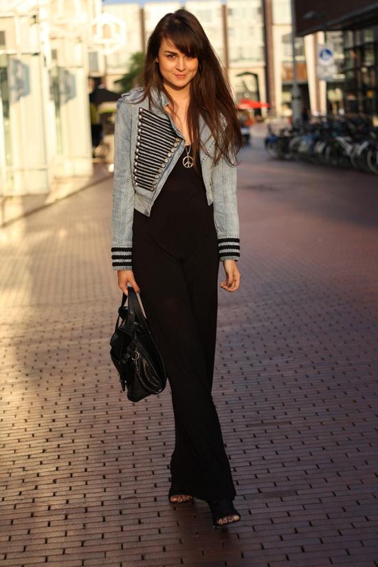 Siyah ve Mavi Maxi Elbisem Style Butik'te Satışta