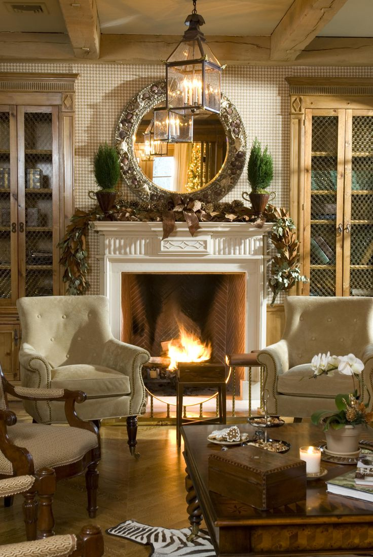 COZY, WARM looking living room...Mantels, Decor, Living Area, Ideas, Cozy Living Room, Livingroom, Fireplaces, Chicken Wire, The Holiday