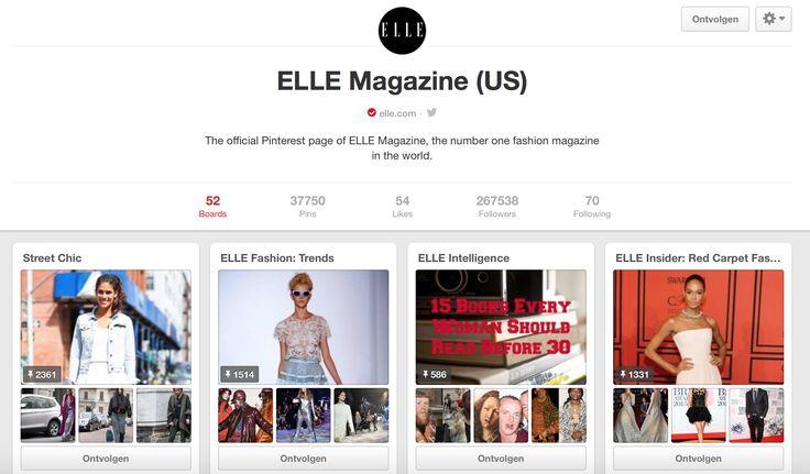Elle magazine (US) heeft meer dan 250 000 volgers, dit wijst op een goed communicatief gebruik. Elle heeft 52 verschillende borden met elk een tijdschrift rubriek, het is als het ware een online tijdschrift. https://www.pinterest.com/elle/