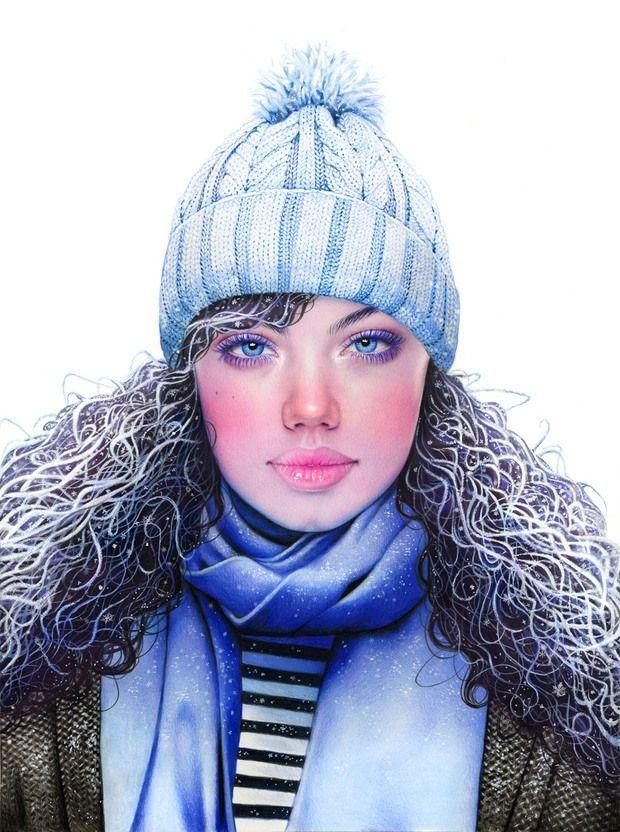 Colored Pencil Season Girls by Morgan Davidson