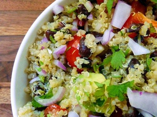 Quinoa salad with black beans, avocado, and cumin-lime dressing: Quinoasalad, Health Food, Black Beans, Cumin Lim Dresses, Beans Salad, Quinoa Salad, Cuminlim, Mr. Beans, Favorite Recipes