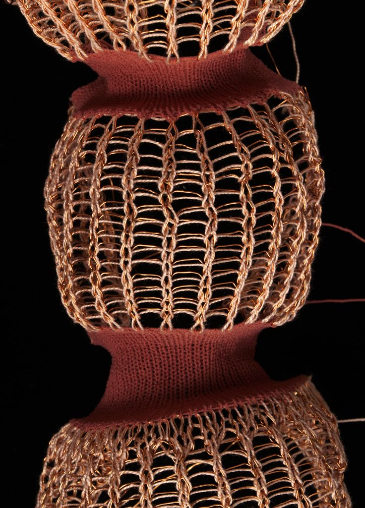 Juliana Sissons Knitwear | V&A Oyster, coral pink and warm gold knitted sample with stripe, tension variation and ladder technique Cotton, copper wire and elastic