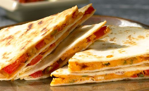 Cheese and Pepper Quesadillas. Delicious served hot with Epicure's Salsa and Guacamole.