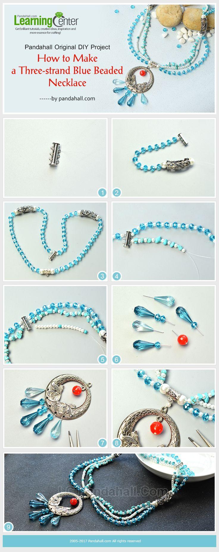 Pandahall Original DIY Project - How to Make a Three-strand Blue Beaded Necklace