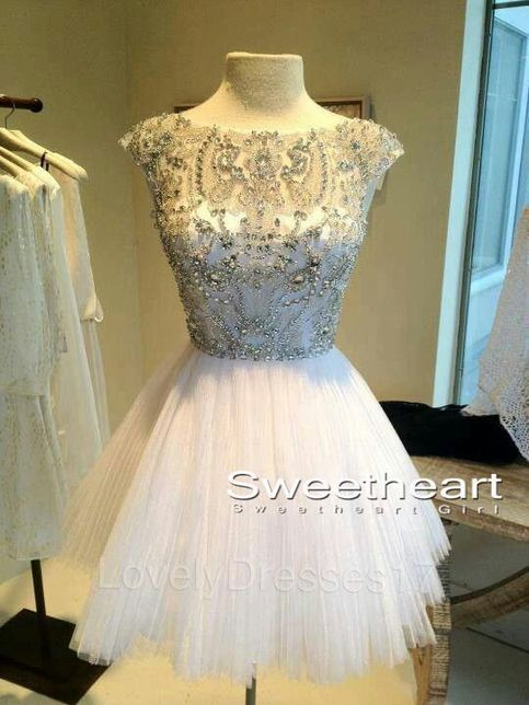 White Short Sequin Rhinestone round neckline Prom Dresses, Homecoming from Sweetheart Girl