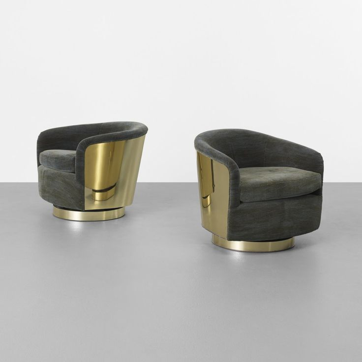 Milo Baughman; Brass Lounge Chairs for Thayer Coggin, c1970.