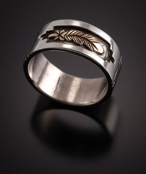14k Gold And Sterling Silver Eagle Feather Wedding Rings Priced For Pair