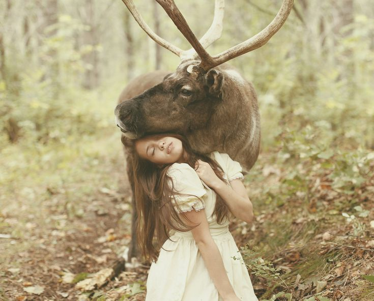 UNPHOTOSHOPPED direct photography, ethereal/dreamy/fairytale-like photography shot live with real animals really interacting with real people...thanks to Russian photographer Katerina PLOTNIKOVA, via 500px