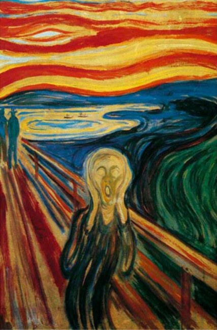 """""""The Scream""""; by E. Munch // Four versions of The Scream exist: One sold in May 2012 for 120m $, and two others were stolen in 2004."""