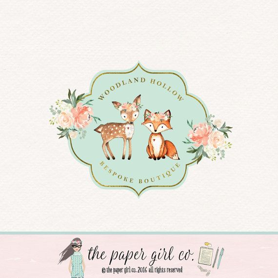 deer logo doe logo fox logo woodland logo by ThePaperGirlCo