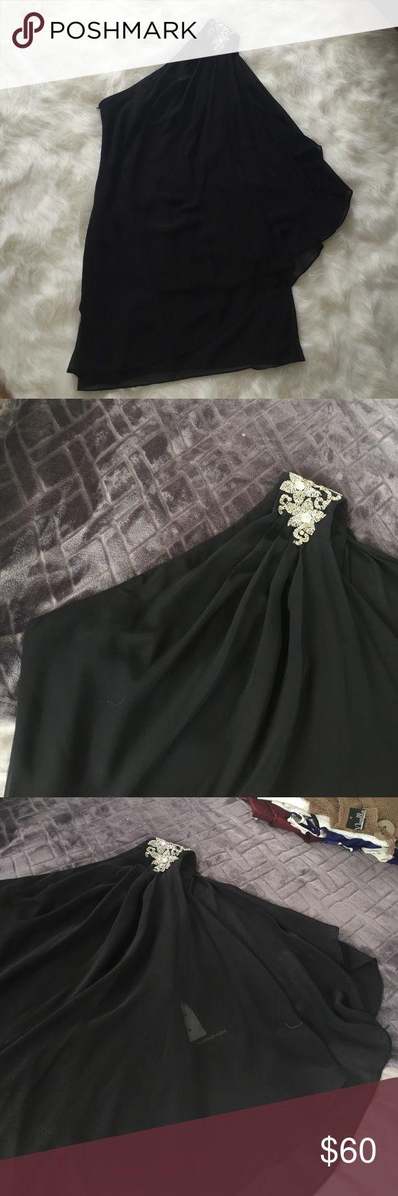 JS boutique, black, one shoulder dress Black, one shoulder with embellishment, flair sleeve dress JS Boutique Dresses One Shoulder