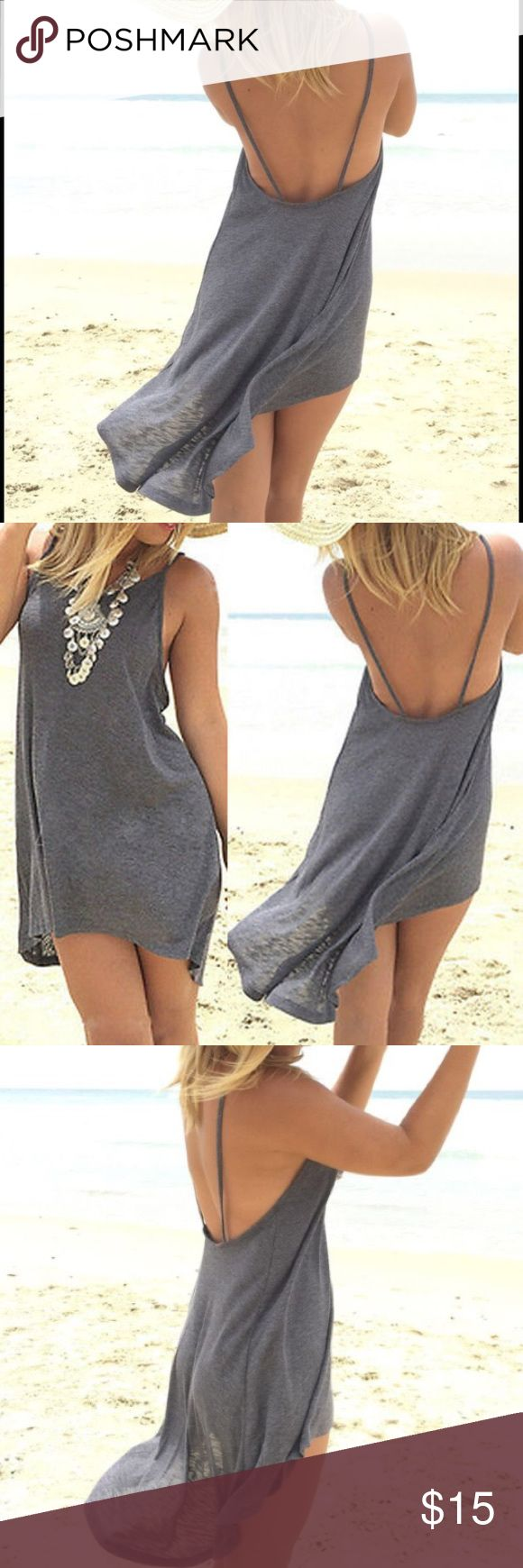 🆕JUST IN! HIGH LOW GREY MINI SUNDRESS With its comfy cotton feel and spandex for stretch these run one size up for a looser fit to pair with your favorite bikini! For a perfect tight fit go down a size.  Small fits 4-6,medium fits 6-8, large fits 10-12 Dresses High Low
