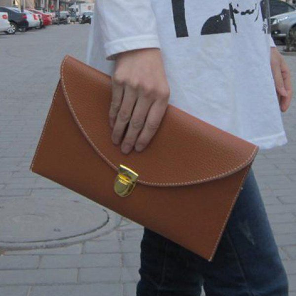 New Fashion Women\u0026#39;s Golden Chain Envelope Purse Clutch Synthetic ...