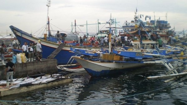 Busy Philippine fishing port with huge tuna fish in background.
