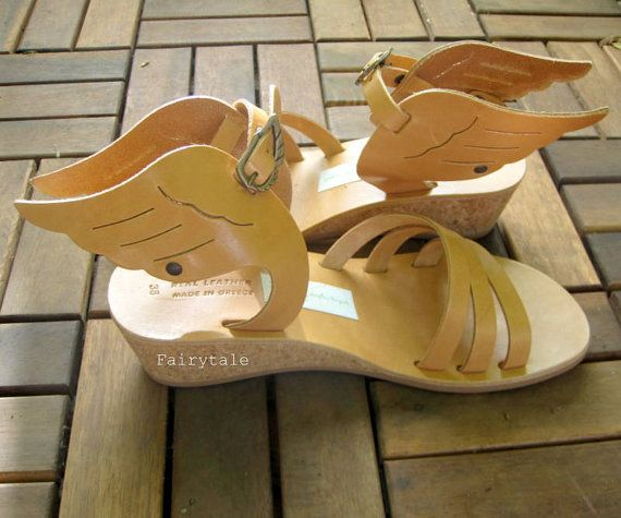 Hermes Wedges  Natural Greek Leather sandals-gladiator by sivylla