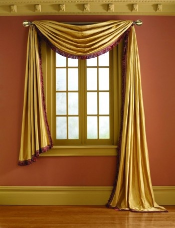 Phase II's Scarf Pole Mounted Valance in silk fabric ...