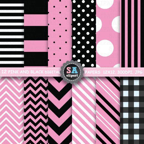 Pink and BLACK digital paperPINK and BLACK digital by SAClipArt