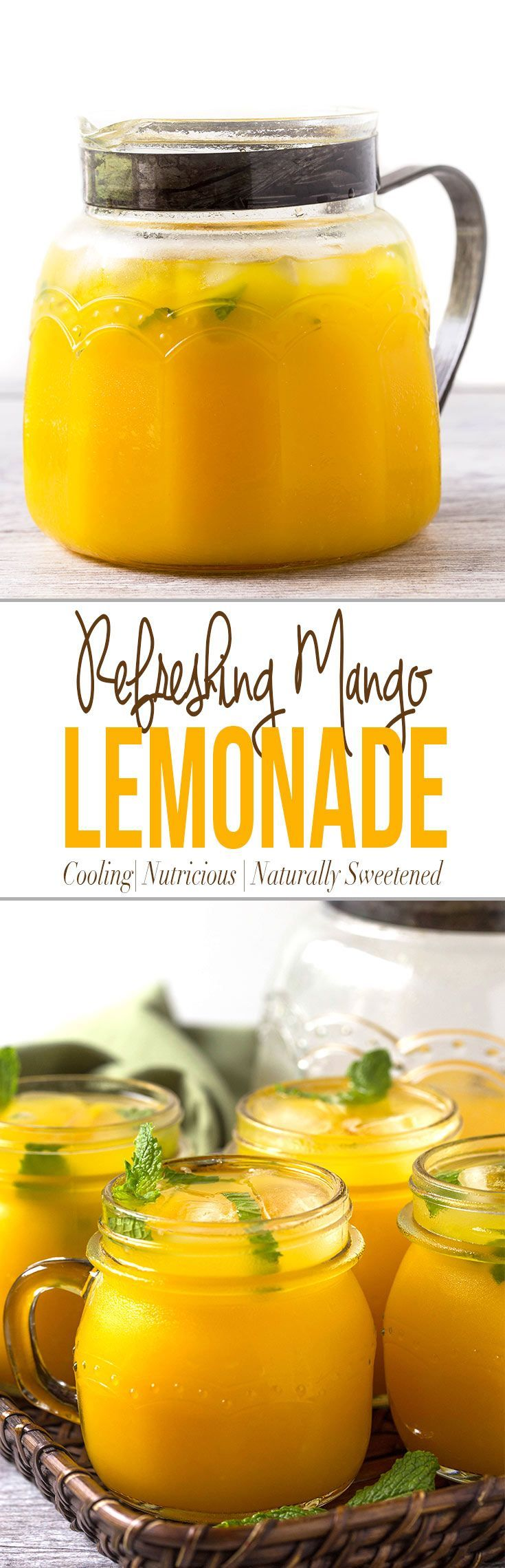 Refreshing mango lemonade to enjoy hot summer days. Prepared using fresh zesty lemon juice, honey, & mango pulp. Healthy, delicious & naturally sweetened fresh lemonade via @watchwhatueat