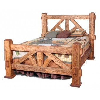 Weathered Timber Hand Hewn Bed | Western decor