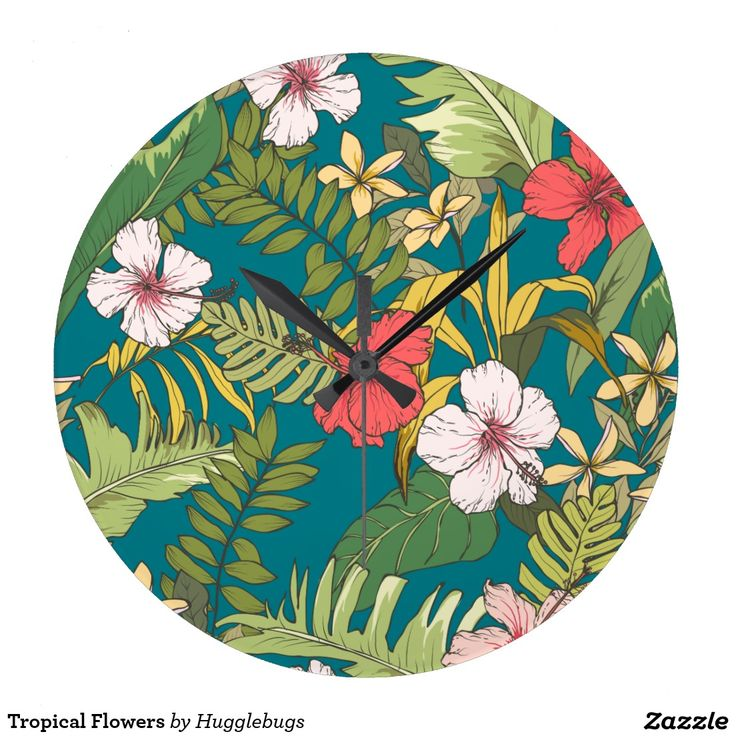 Tropical Flowers Clock