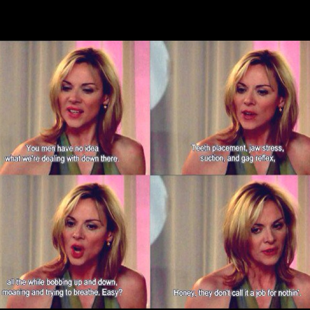 Ok I just realized that Samantha Jones is one of my many dear aunts by close family friendship, a very cool lady and great talent, who is post-op male-to-female transgendered. She is similarly very experienced and insightful about relationships.