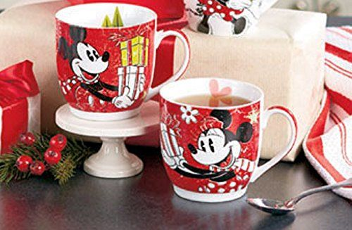 set of 2 Disney Christmas Mickey and Minnie Mouse porcelain mugs