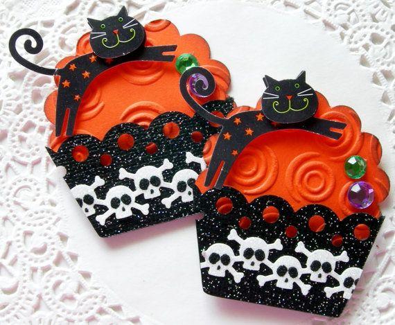 Halloween Paper Cupcake EmbellishmentsSet of 2 by sarasscrappin, $2.99