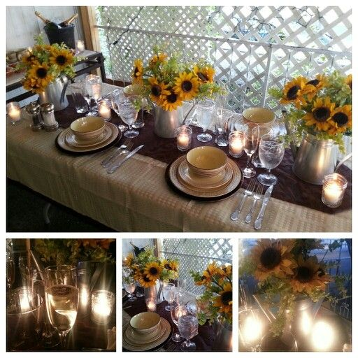 Sunflower Centerpieces And Candle Lights Perfect