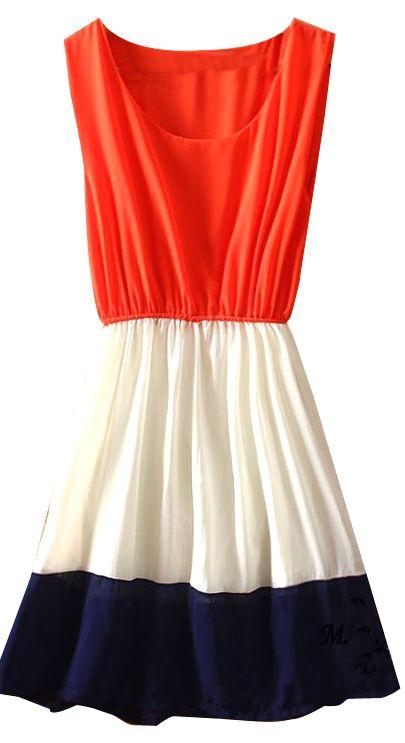 Orange White Navy Sleeveless Bandeau Chiffon Dress - Sheinside.com