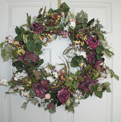 "22"" Sasha Silk Flower Wreath Dried Spring Door Wreaths   eBay Pinning because the design is new, fresh, a little different, lovely."