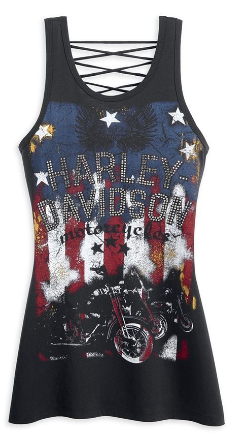 Harley-Davidson Womens Laced Back Stars & Stripes Tank Top. 96354-13VW