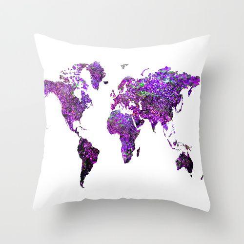 Purple World Map  Throw Pillow