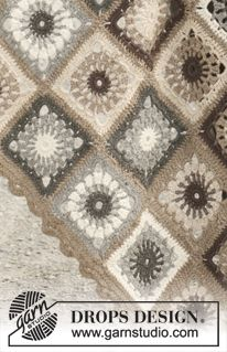 """Crochet DROPS blanket in """"Lima"""". ~ DROPS Design...A beautiful blanket made with different squares...free pattern!"""