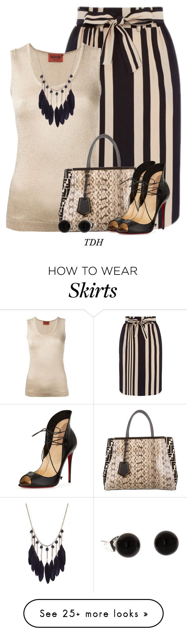 """Striped Skirt"" by talvadh on Polyvore featuring Missoni, Fendi and Christian Louboutin"