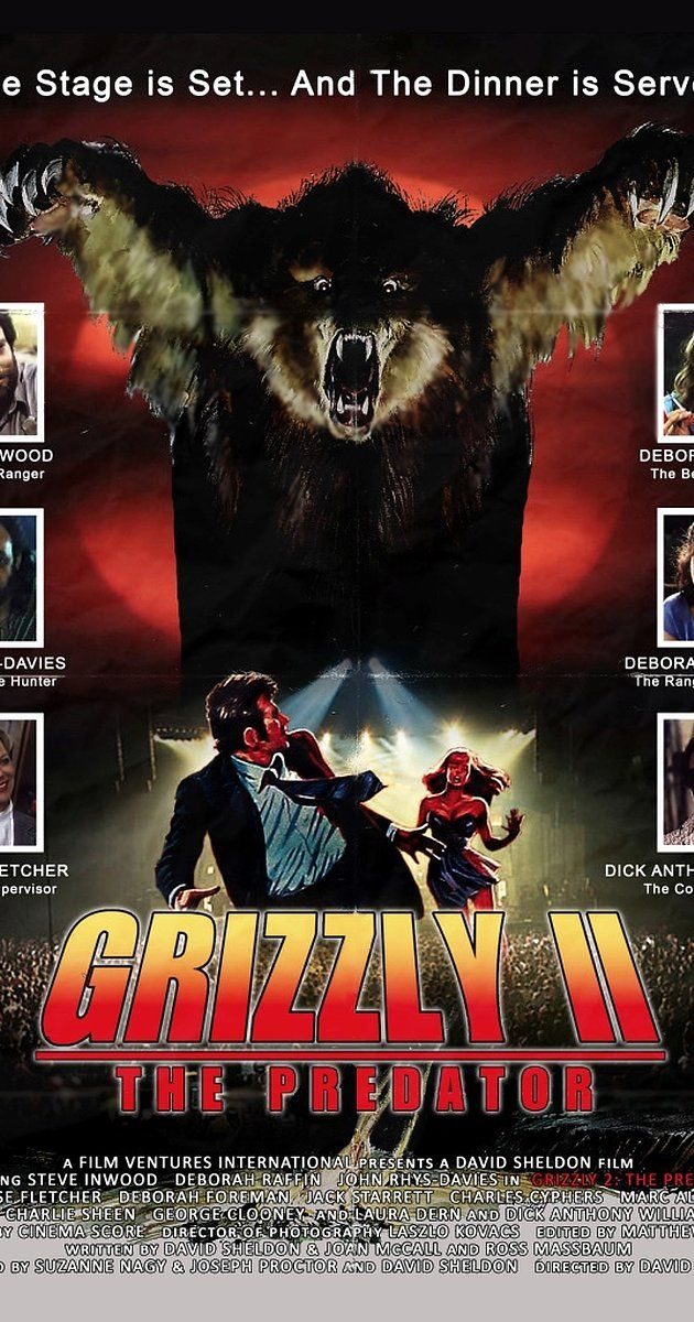 Directed by André Szöts.  With Steve Inwood, Deborah Raffin, John Rhys-Davies, Louise Fletcher. All hell breaks loose when a giant Grizzly, reacting to the slaughter of Grizzlies by poachers, attacks at a massive big-band rock concert in the National Park.