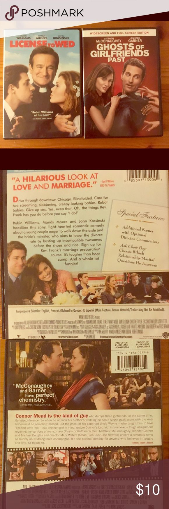 License to Wed & Ghosts of Girlfriends Past! Excellent condition. Fabulous rom-com wedding movie bundle with amazing casts (Mandy Moore, Jennifer Garner, etc.)! 🎥 👰 Other